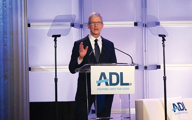 Apple CEO Tim Cook was given the ADL's Courage Against Hate Award for his company's work to keep hate speech off Apple's platforms. Courtesy ADL