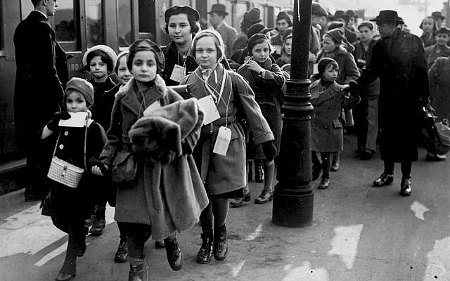 Jewish children arrive in London from Nazi Germany in 1939. Each child, according to a new Yeshiva University Museum-Leo Baeck Institute show, was allowed to bring one suitcase. Association of Jewish Refugees