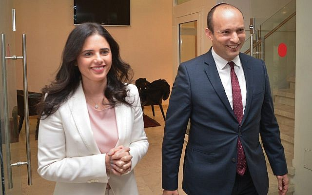 Israeli Minister of Education Nafatli Bennett and Justice Minister Ayelet Shaked after their announcement Sunday in Tel Aviv that they will form a new Orthodox-secular right-wing party. Yossi Zeliger/Flash90