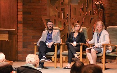 The author, right, moderating a discussion with Asaf Beiser and Natalie Marcus, co-creators of an Israeli satire show that mines the textual and cultural history of the Jewish people for laughs. Courtesy of HUC-JIR
