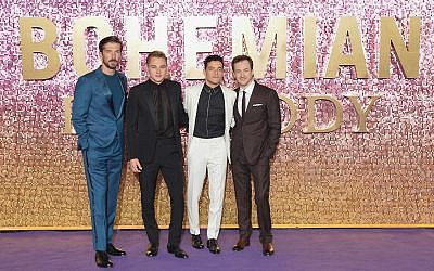 (L-R) Gwilym Lee, Ben Hardy, Rami Malek and Joe Mazzello attend the World Premiere of 'Bohemian Rhapsody' on October 23, 2018 in London, England. Getty Images