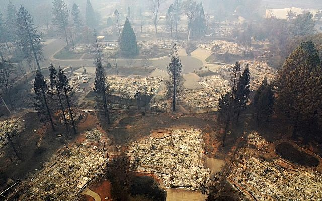 An aerial view of a neighborhood destroyed by the Camp Fire on November 15, 2018 in Paradise, California. Getty Images