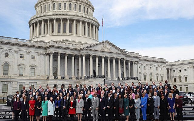 Newly elected members of the House of Representatives pose for an official class photo outside the U.S. Capitol on November 14, 2018 in Washington, DC. Newly elected members of the House are in Washington this week for orientation meetings. Getty Images