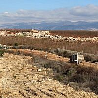 A view of the border between Lebanon, left, and Israel near the village of Kfar Kila, Feb. 7, 2018. (JTA)