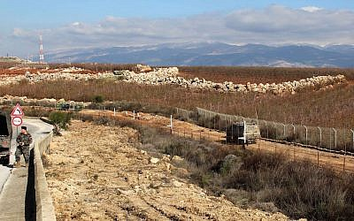 A view of the border between Lebanon, left, and Israel near the village of Kfar Kila, Feb. 7, 2018. (JTA)