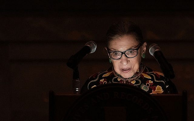 Supreme Court Justice Ruth Bader Ginsburg speaks during a naturalization ceremony at the rotunda of the National Archives in Washington, D.C., Dec. 14, 2018. JTA