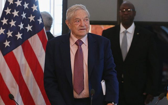 George Soros at a meeting of American business leaders at the Blair House in Washington, D.C., May 20, 2015. (Mark Wilson/Getty Images) Via JTA