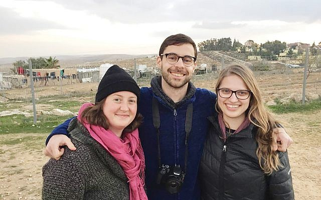 Provocation or principled stand? Emily Bloch, left,  Ben Doernberg, Shira Tiffany were ejected from Birthright tour.  Courtesy of Emily Bloch