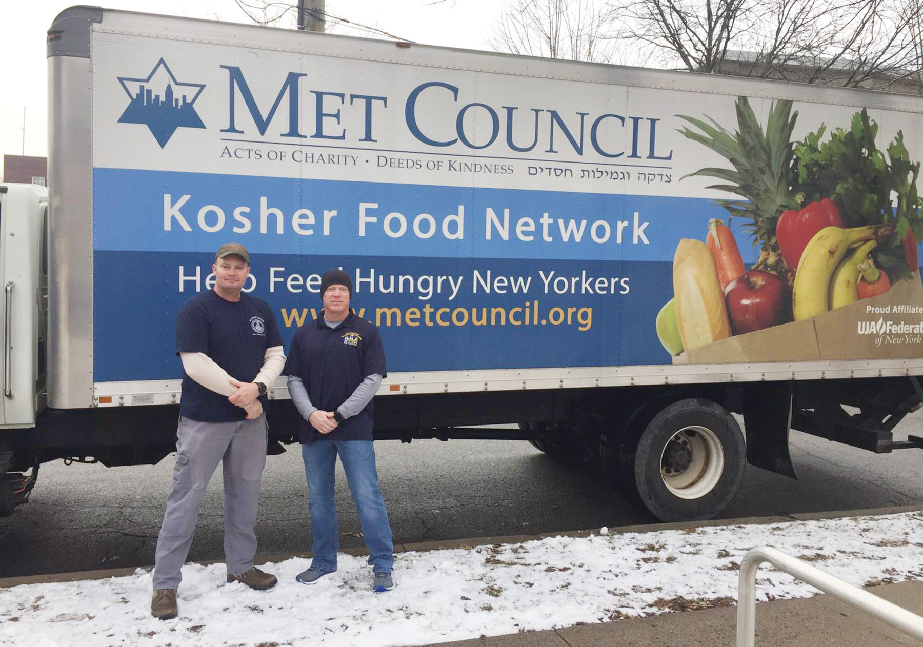 U.S. Coast Guard personnel on Staten Island receive a shipment of kosher food from Met Council. Getty Images / Courtesy Met Council