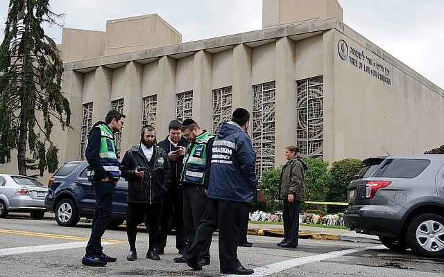 The Tree of Life synagogue in Pittsburgh just after the Oct. 27 murders. In the wake of the attack, the Secure Community Network has received more than 500 requests for its security services. Getty Images