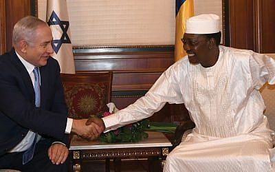 Israeli Prime Minister Benjamin Netanyahu meets Chadian President Idriss Deby Sunday in the capital city of N'Djamena. Kobi Gideon/GPO via JTA