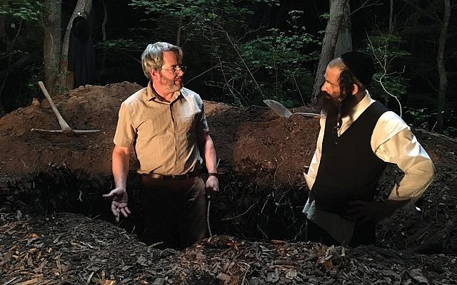 "Grave matters: Matthew Broderick, and Géza Röhrig in ""To Dust."" Broderick plays a science professor who helps Röhrig's character understand how bodies decompose. Courtesy of Good Deed Entertainment"