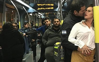 """A scene from Amos Gitai's """"A Tramway in Jerusalem,"""""""