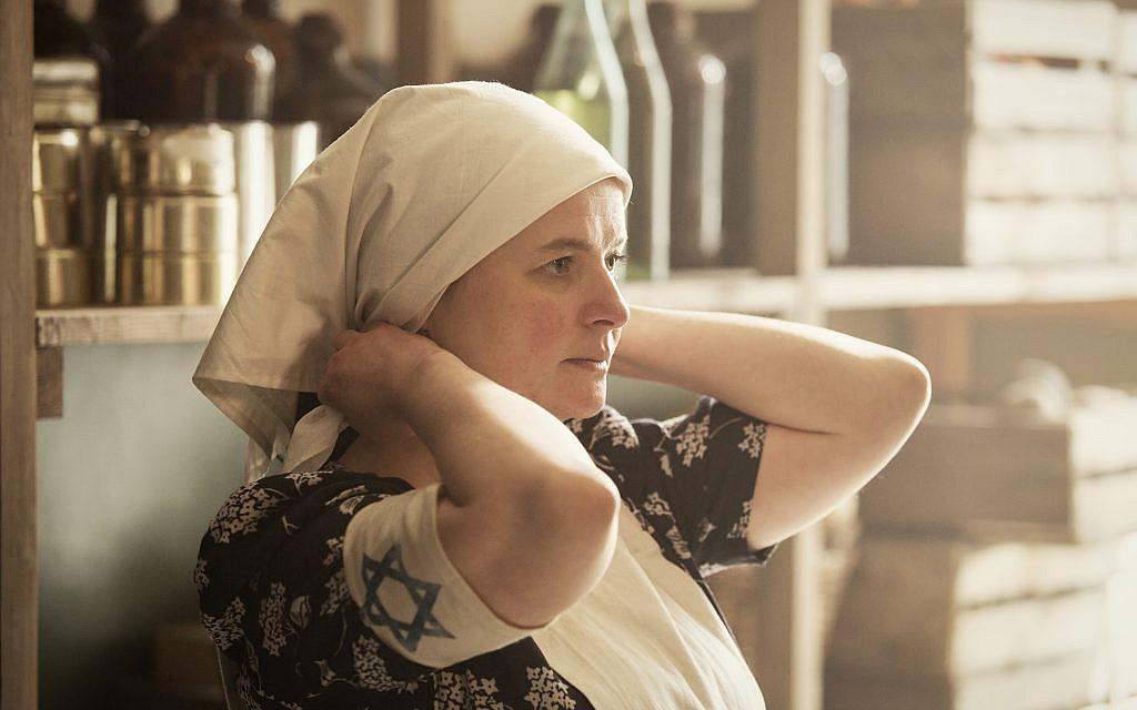 Actor Jowita Budnik portrays Rachel Auerbach in Soup Kitchen. Courtesy of Anna Wloch