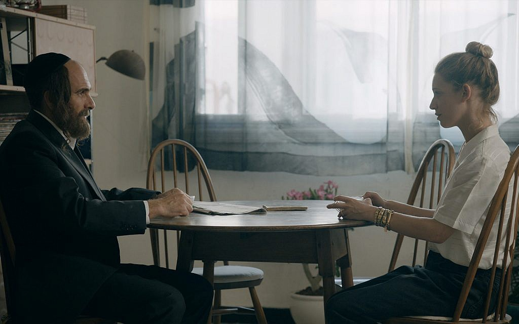 Assi Cohen, left, as Broide, and Daniella Kertesz as Anna in 'Autonomies.' (Courtesy) Via Times of Israel