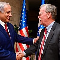 Israeli Prime Minister Benjamin Netanyahu shakes hands with White House National Security Adviser John Bolton as they meet on January 6, 2019 in Jerusalem, Israel. (Photo by Kobi Gideon/GPO via Getty Images)