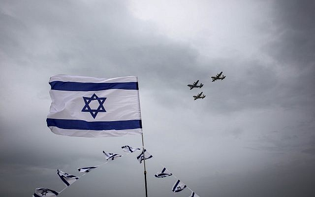 A military air show marks an anniversary of Israel's independence. Getty Images