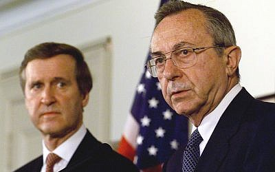WASHINGTON, : Israeli Defense Minister Moshe Arens (R) answers reporters' questions during a joint press conference with US Secretary of Defense William Cohen (L) after their meeting and full honors arrival ceremony 27 April 1999 at the Pentagon in Washington, DC. Arens is in the US to discuss fighter jets; he also pledged support for the NATO effort in Kosovo. (JOYCE NALTCHAYAN/AFP/Getty Images)