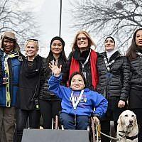 (L-R back row) Bob Bland, Nantasha Williams, Jamiah Adams, Ginny Suss, Carmen Perez, Gloria Steinem, Linda Sarsour, Janaye Ingram and (front row) Mia Ives-Rublee. Getty Images