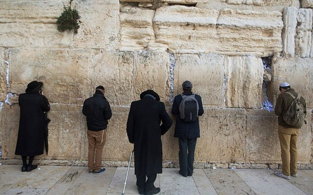 Jewish men pray at the Western Wall in the Old City on December 6, 2017 in Jerusalem, Israel. Getty Images