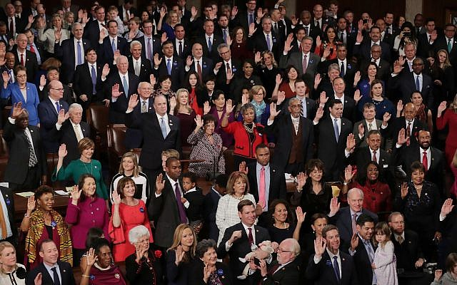 New members of the House of Representatives being sworn in during the first session of the 116th Congress at the U.S. Capitol, Jan. 3, 2019. (Chip Somodevilla/Getty Images) Via JTA
