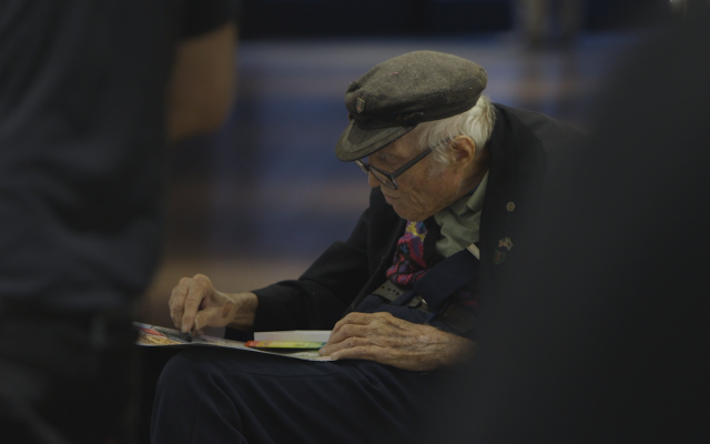 Nonagenarian artist Nathan Hilu at work. Courtesy of Elan Golod