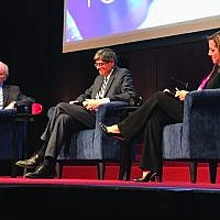 State of our union: Former Sen. Joe Lieberman, left, former Treasury Secretary Jack Lew and moderator Abigail Pogrebin covered a range of topics at the Jan. 17 Jewish Week forum, from the dangers of uncivil behavior in Washington to moving the U.S. embassy in Israel to Jerusalem. Rich Waloff/JW