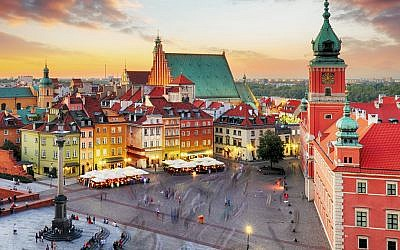 Aerial View of Old Town Warsaw, Poland
