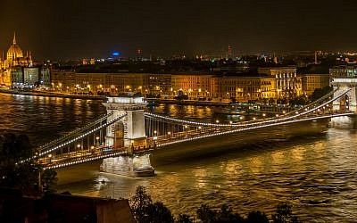 Night view of The Széchenyi Chain Bridge from Buda Castle in Budapest, Hungary. Wikimedia Commons