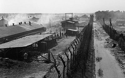 Overview of Camp No 1 at Bergen-Belsen, taken from a watch tower after the camp was liberated in April 1945. (Imperial War Museums)