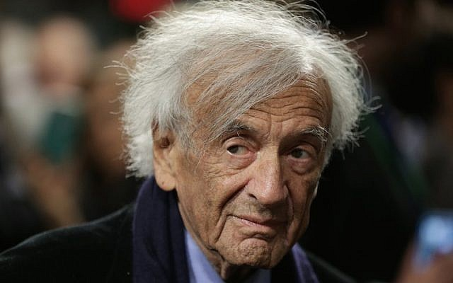 Nobel Peace Laureate Elie Wiesel arrives for a roundtable discussion on Capitol Hill, Washington, DC March 2, 2015. (Win McNamee/Getty Images via JTA)