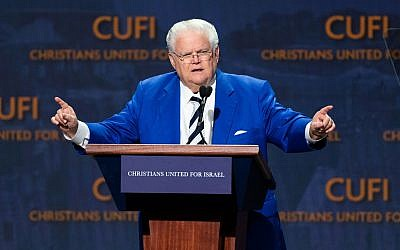 Pastor John Hagee, CUFI's founder and chairman, speaks at the group's Washington summit, July 23, 2018. (Michael Brochstein/SOPA Images/LightRocket via Getty Images) Via JTA