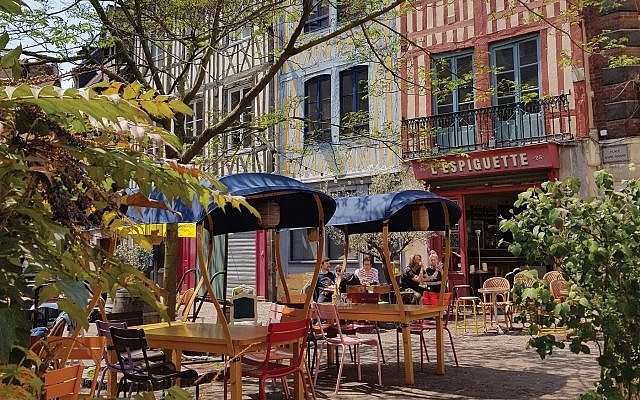 The café scene in Rouen, Normandy's largest city. Courtesy of Atout France-France Tourism Development Agency