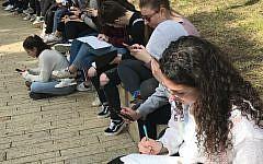 Write On For Israel students visit the Children's Memorial at Yad Vashem in Jerusalem in February 2019. (Gary Rosenblatt/JW)