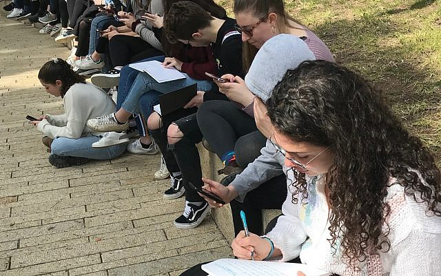 Write On For Israel students visit the Children's Memorial at Yad Vashem in Jerusalem in February 2019. (Gary Rosenblatt/JW)