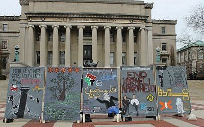 A mock apartheid wall at Columbia University. Pro-Palestinian students successfully lobbied for a pro-BDS statement by the student body. (Facebook via JNS.org)