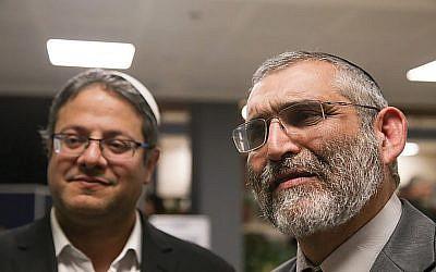 Itamar Ben-Gvir, left, and Michael Ben-Ari of the Kahanist Otzma Yehudit party Photo by Yonatan Sindel/Flash90 via JNS.org