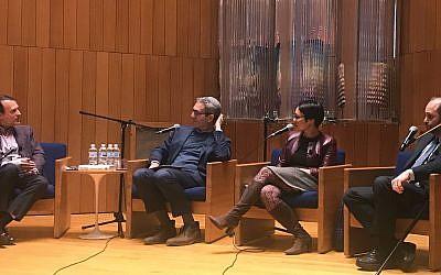 Scott Shay, left, with Rabbis Elliot Cosgrove, Angela Buchdahl and Chaim Steinmetz last week at HUC. Thea Wieseltier/JW