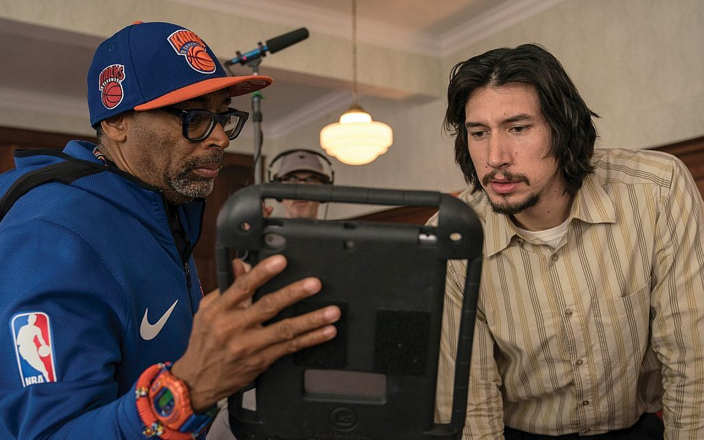 """Spike Lee on the set of """"BlacKkKlansman"""" with Adam Driver, who plays Jewish detective Flip Zimmerman.  David Lee/Focus Features"""