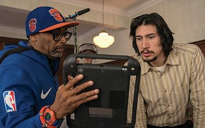 "Spike Lee on the set of ""BlacKkKlansman"" with Adam Driver, who plays Jewish detective Flip Zimmerman.  David Lee/Focus Features"