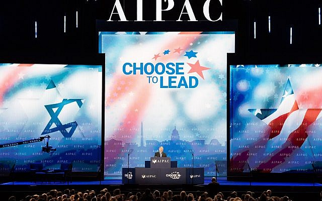 Sen. Robert Menendez speaks at the AIPAC conference at the Washington Convention Center, March 6, 2018. (Michael Brochstein/SOPA Images/LightRocket via Getty Images/via JTA)