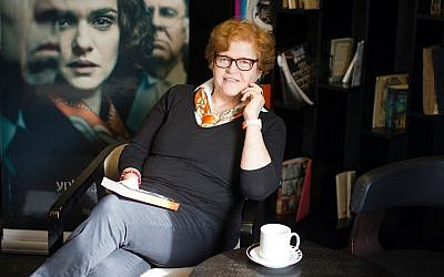 """Deborah Lipstadt photographed in front of the poster for the 2017 film """"Denial,"""" based on her book """"History on Trial: My Day in Court with a Holocaust Denier."""" Via Facebook"""