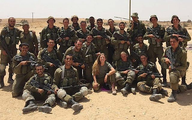 The author, center, with a group of soldiers she trained in the IDF.