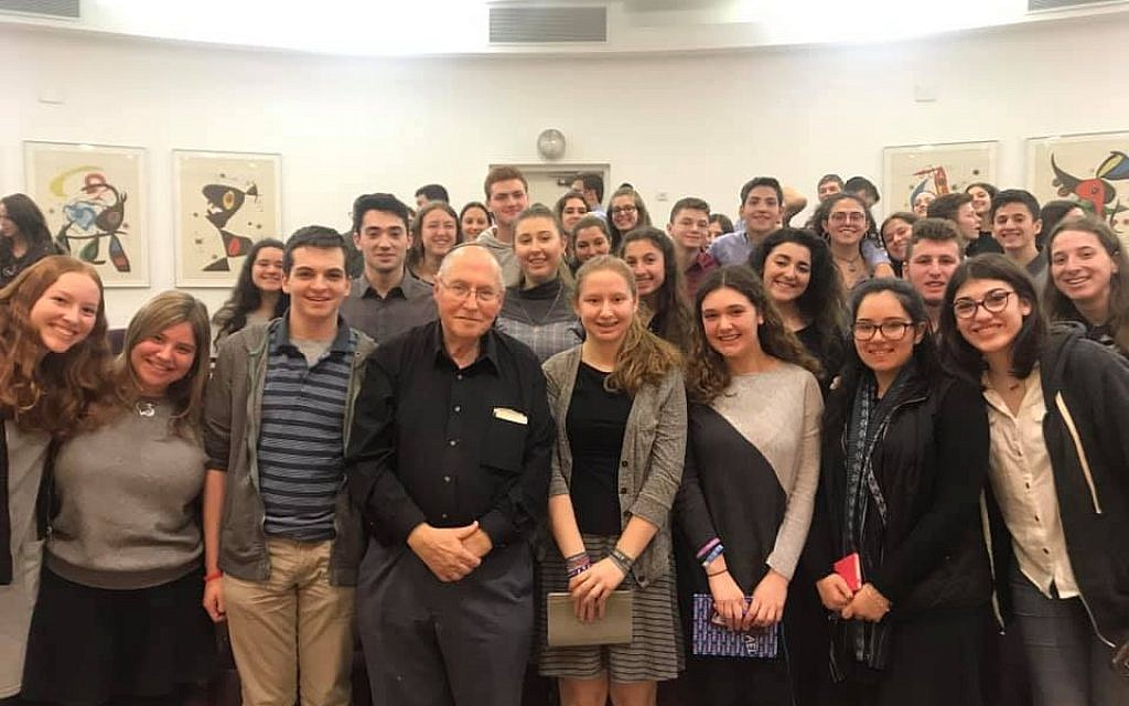 Court time: The 2019 class of Write On for Israel met last week at the Supreme Court in Jerusalem with retired vice president of the Court, Elyakim Rubinstein (center), who told them of his efforts to combine Jewish and civil law.