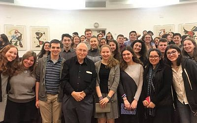 Court time: The 2019 class of Write On for Israel at the Supreme Court in Jerusalem with retired vice president of the Court, Elyakim Rubinstein (center), who told them of his efforts to combine Jewish and civil law.