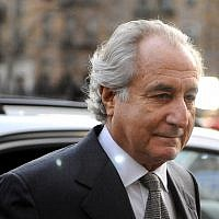Bernie Madoff arriving at Manhattan Federal court, March 12, 2009. (Stephen Chernin/Getty Images/via JTA)