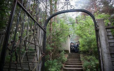 Chasidim visit the graves of their rebbes in Poland. Courtesy of Agnieszka Traczewska