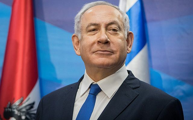 Prime Minister Benjamin Netanyahu speaks at the Prime Minister's Office in Jerusalem on February 5, 2019. (Noam Revkin Fenton/Flash90/via Times of Israel)