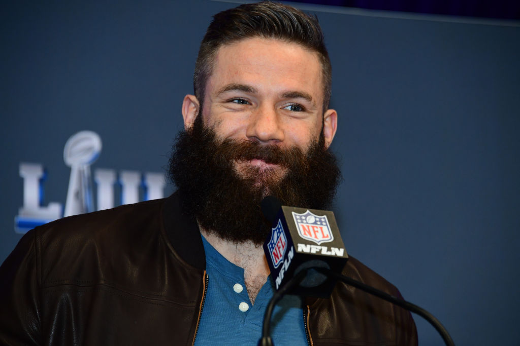 daa930e6ed82cd Julian Edelman of the New England Patriots is interviewed at a press  conference naming him MVP of Super Bowl LIII on February 4
