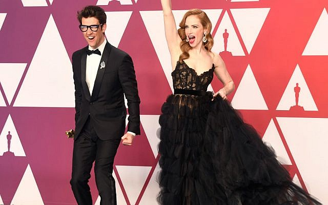 L-R: Guy Nattiv and Jaime Ray Newman, winners of Best Live Action Short Film for 'Skin,' pose in the press room during the 91st Annual Academy Awards at Hollywood and Highland on February 24, 2019 in Hollywood, California. Getty Images